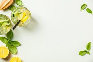 Healthy homemade lemonade or cocktail