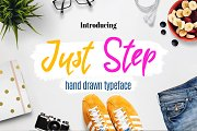 Just Step Typeface - Hand Drawn Font
