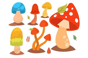 Mushrooms fungus agaric toadstool different art style design fungi vector illustration red hat