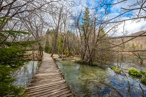 River stream and wooden path