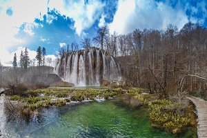 Spring view of beautiful waterfalls