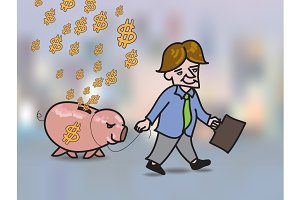 Businessman leading piggy bank