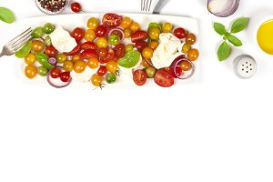 Caprese salad on white background