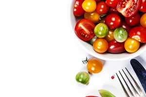 Tomato salad with fresh tomatoes, basil and olive oil