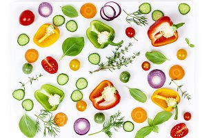 Fresh organic vegetables  isolated on white background, top view
