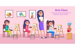 Arts Class at Elementary School Vector Poster