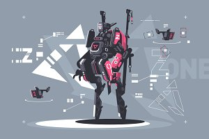 Robot drone mechanized and automated