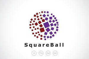 Square Ball Logo Template