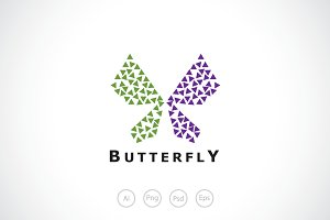 Triangle Butterfly Logo Template