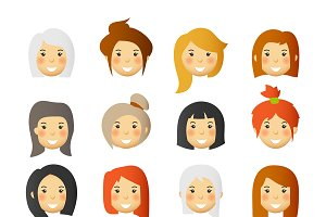 Women emoticons & avatars set