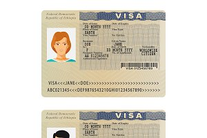 Ethiopia visa sticker template