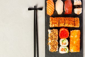 Flat-lay of sushi set