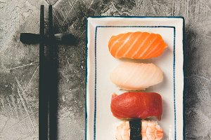 Sushi set on grey background
