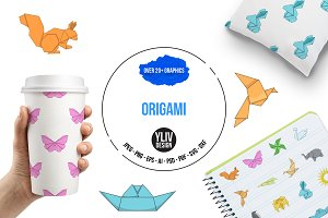 Origami icons set, cartoon style