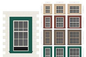 Single hung retro windows set