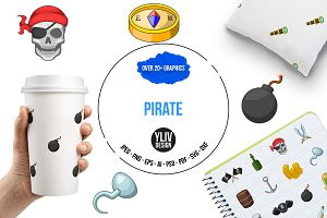 Pirate culture symbols icons set