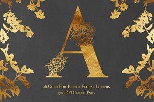 26 Gold Foil Effect Floral Letters
