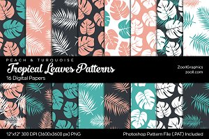 Tropical Leaves Digital Papers P&T