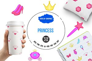 Princess icons set, cartoon style
