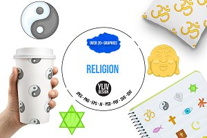 Religion icons set, cartoon style