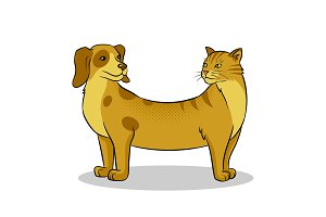 Cat dog fake animal pop art vector illustration