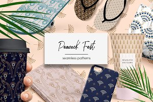 Peacock Fest - seamless patterns