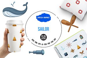Nautical icons set, cartoon style