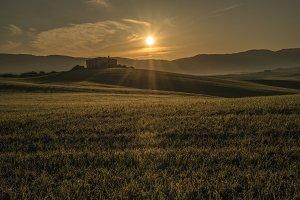 Dramatic Sunrise at Tuscan farmlands