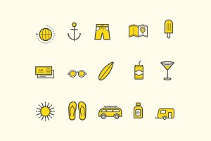 15 Summer Holiday Vacation Icons
