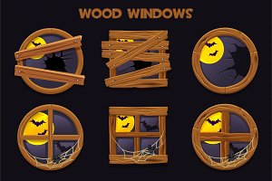 Different shape and old shattered wood windows, cartoon building objects with cobwebs and full moon.