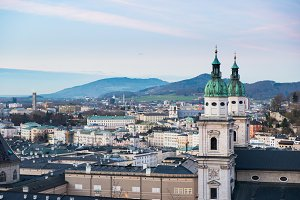 Panoramic view from Salzburg Fortress at sunset Austria