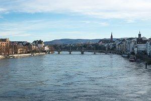 winter day on Rhine river in Basel, Switzerland