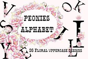 Peonies Floral Alphabet Watercolor
