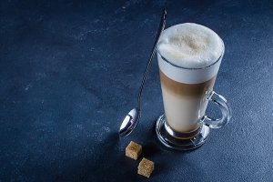 Glass of hot Latte macchiato coffee