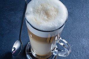 Glass of hot Latte macchiato coffee