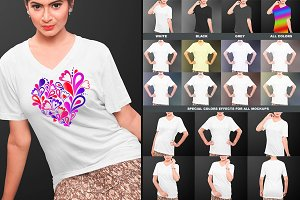 Female V-Neck Tshirt Mock-Ups Vol-1
