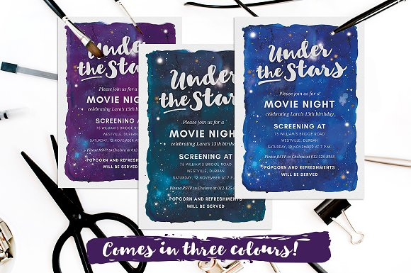 under the stars movie night invite invitation templates