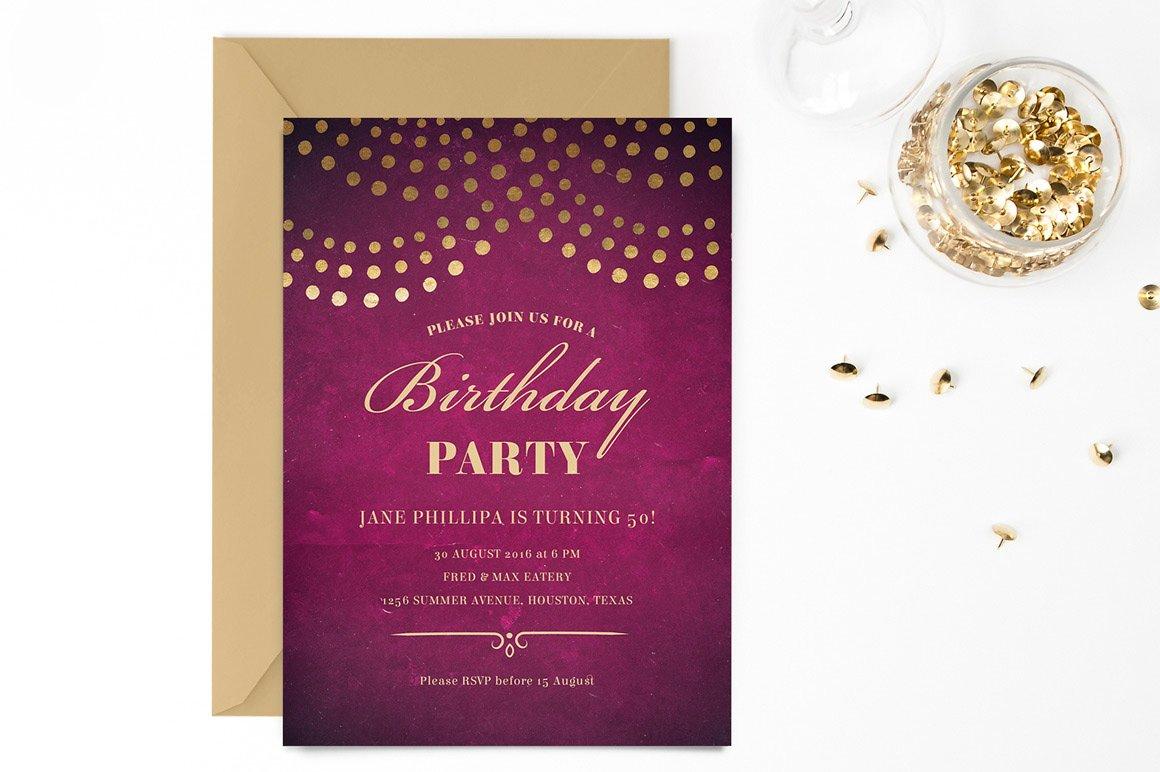 elegant 50th birthday party invite invitation templates creative market. Black Bedroom Furniture Sets. Home Design Ideas