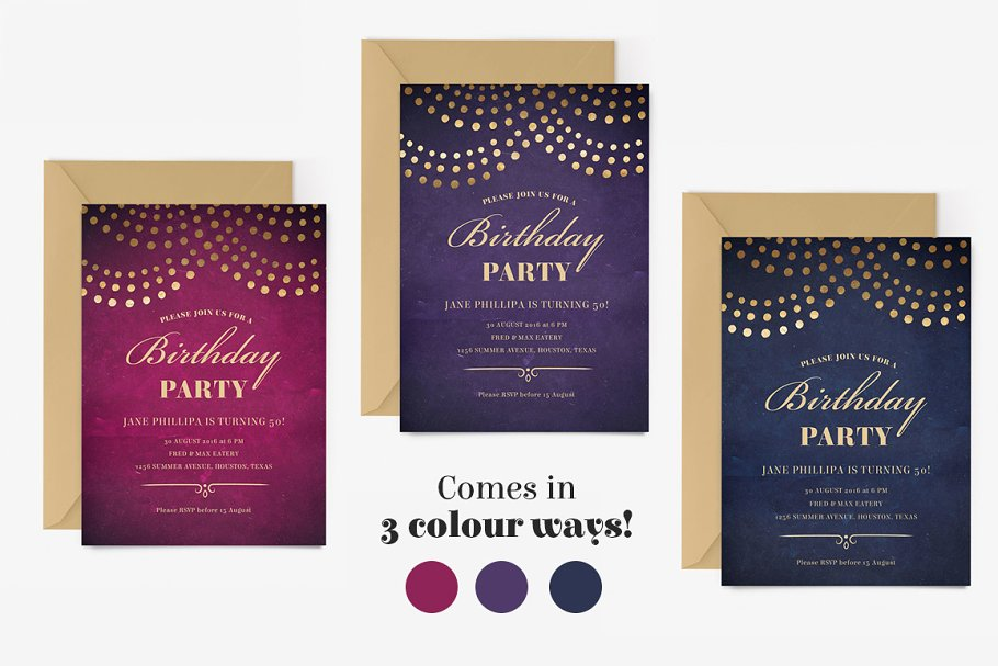 Elegant 50th Birthday Party Invite Invitation Templates Creative