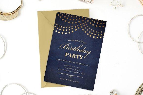 Elegant 50th Birthday Party Invite