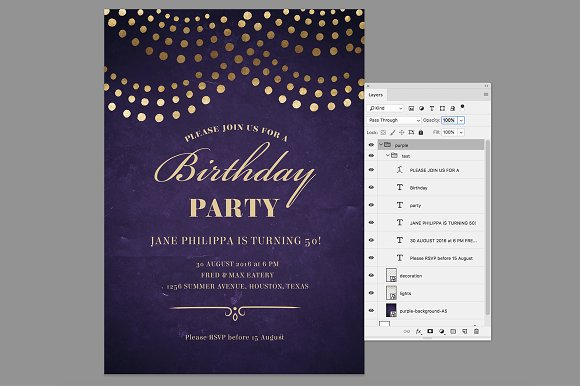 Elegant 50th Birthday Party Invite Invitation Templates Creative Market