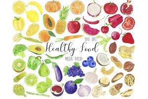 Watercolor Healthy Food Clipart