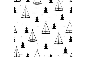 Teepee, native american tent seamless pattern