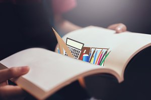 Young girl open the pages of the book empty and a stationary icon. text for banner lifestyle and school