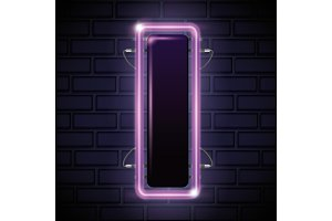 iluminated neon label icon