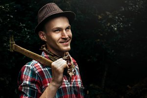 hipster lumberjack with ax