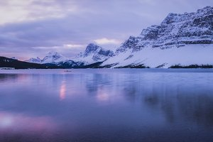 Sunrise over Bow Lake in Rockies