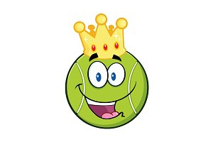 King Tennis Ball Cartoon Character