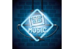 music iluminated neon label
