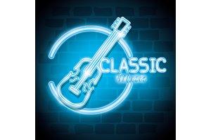 classic music bar neon label